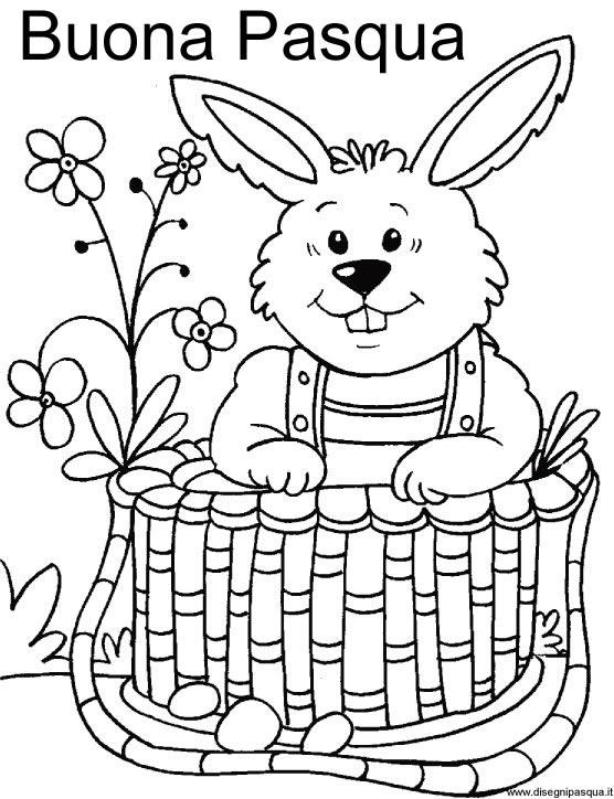 Coniglio di Pasqua da colorare