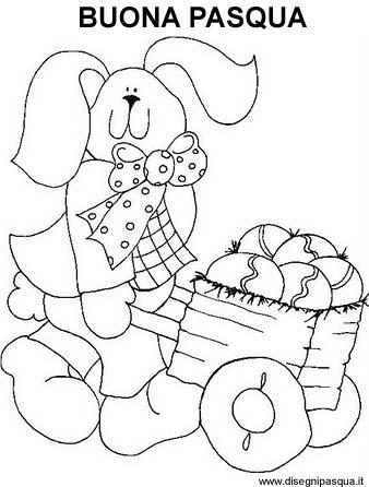 Coniglio di Pasqua con cariola piena di uova da colorare