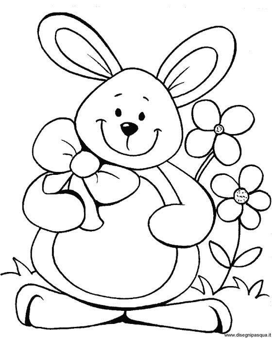 Coniglio di Pasqua sorridente da colorare